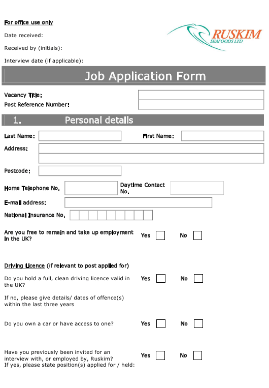 """Job Application Form - Ruskim"" - United Kingdom Download Pdf"