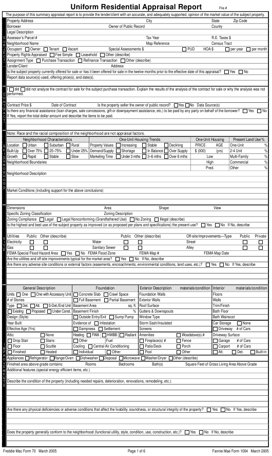 Freddie Mac Form 70  Printable Pdf