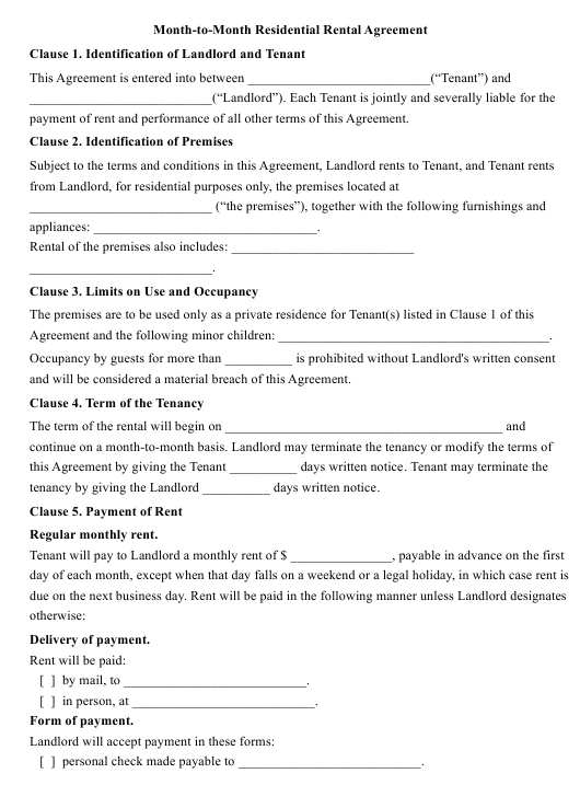 """Month-To-Month Residential Rental Agreement Template"" Download Pdf"