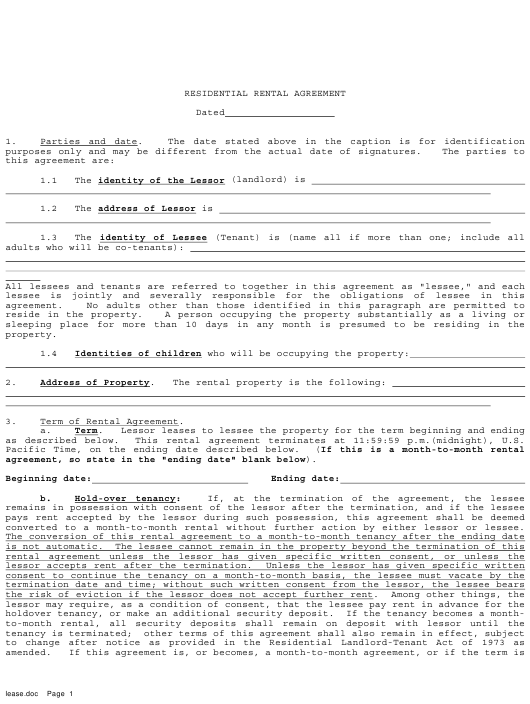 Residential Rental Agreement Template Download Printable Pdf Page 6