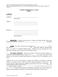 """Sample Residential Lease Form - Kentucky Real Estate Commission"""