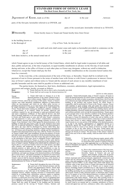 """""""Standard Form of Office Lease - the Real Estate Board of New York, Inc"""" - New York Download Pdf"""