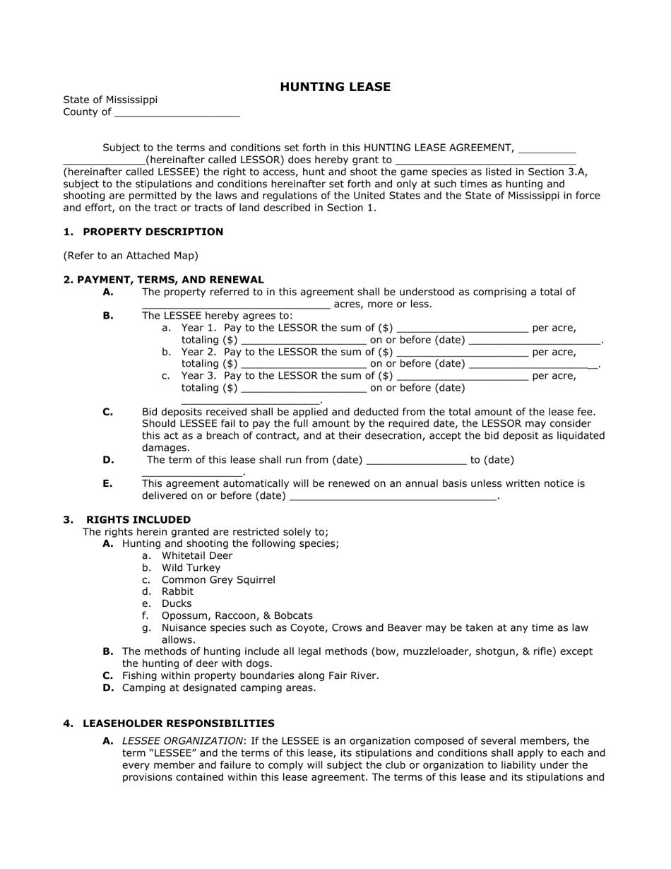 Mississippi Hunting Lease Form Download Printable Pdf Templateroller