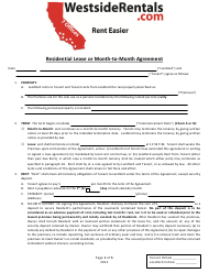 """Residential Lease or Month-To-Month Agreement Template - Westsiderentals"" - California"