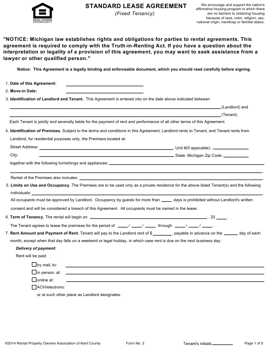 Standard Lease Agreement Form Rental Property Owners Association