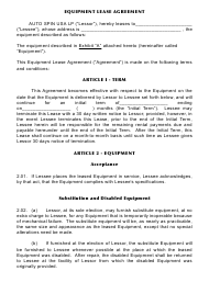 """""""Equipment Lease Agreement Template - Auto Spin USA"""""""