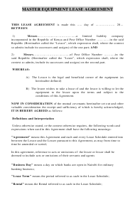 Sample Master Equipment Lease Agreement Template
