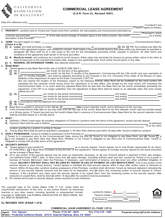 Commercial Lease Agreement Form California Association Of Realtors