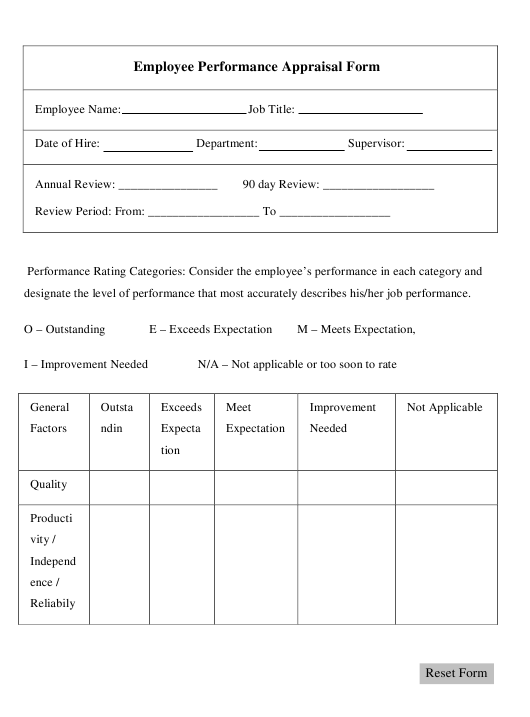 """Employee Performance Appraisal Form"" Download Pdf"