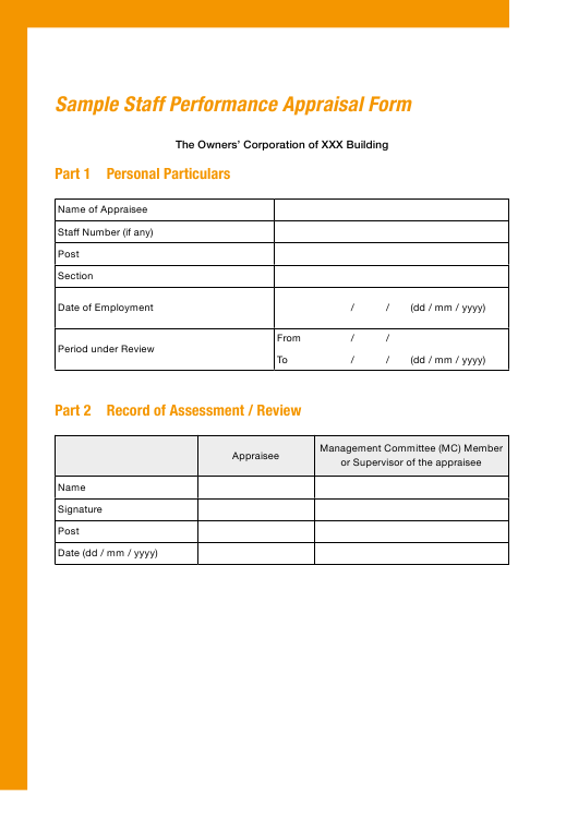 """Sample Staff Performance Appraisal Form"" Download Pdf"