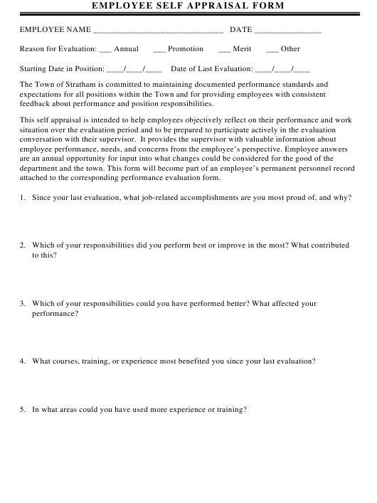 """Employee Self Appraisal Form"" Download Pdf"