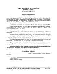 Power of Attorney Form - Colorado