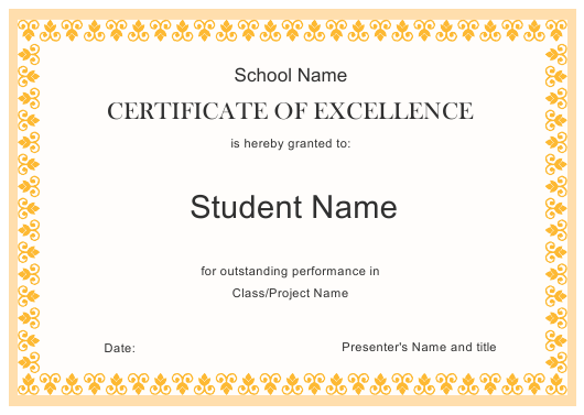 """Certificate of Excellence Template"" Download Pdf"