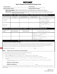 """Direct Deposit Enrollment/Change Form - Paychex"""