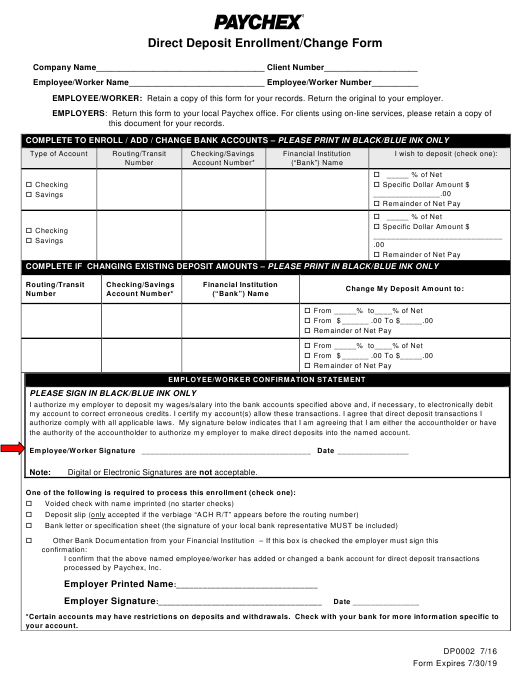 """Direct Deposit Enrollment/Change Form - Paychex"" Download Pdf"