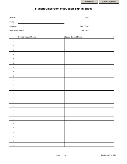 """Student Classroom Instruction Sign-In Sheet Template"" Download Pdf"