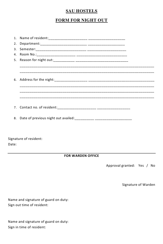 """""""Night out Form - South Asian University Hostels"""" - Delhi, India Download Pdf"""