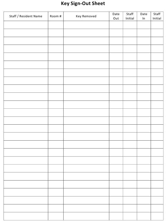 """Key Sign-Out Sheet Template"" Download Pdf"