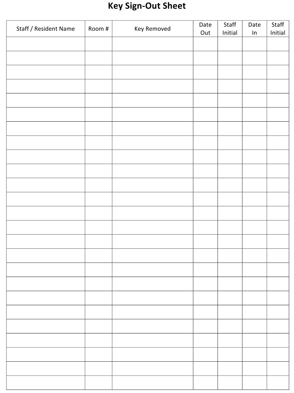Key Sign Out Sheet Template Download Printable Pdf Templateroller
