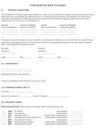 International Sale Contract Template