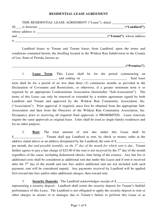Residential Lease Agreement Form Florida Download