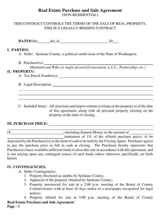 Non-residential Real Estate Purchase and Sale Agreement Template - Spokane County, Washington Download Pdf