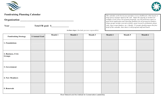 """Fundraising Planning Calendar Template - Institute for Conservation Leadership"" Download Pdf"
