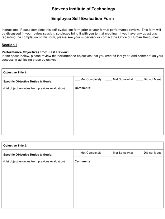 """Employee Self Evaluation Form - Stevens Institute of Technology"" Download Pdf"