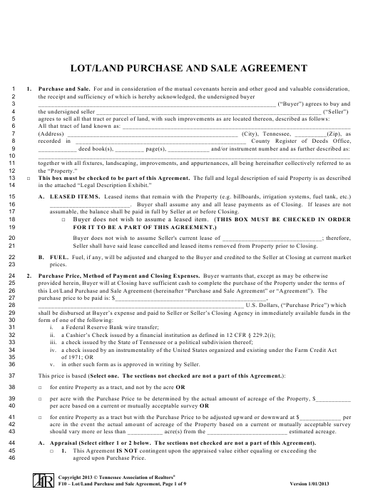 Lot/Land Purchase and Sale Agreement Form - Tennessee Association of Realtors - Tennessee Download Pdf