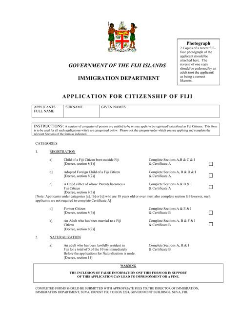 """Application for Citizenship of Fiji"" - Fiji Download Pdf"
