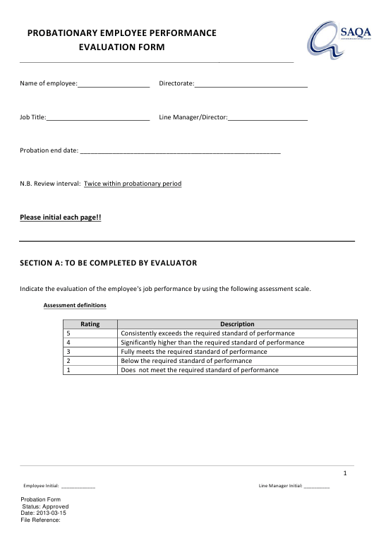 """Probationary Employee Performance Evaluation Form - Saqa"" Download Pdf"