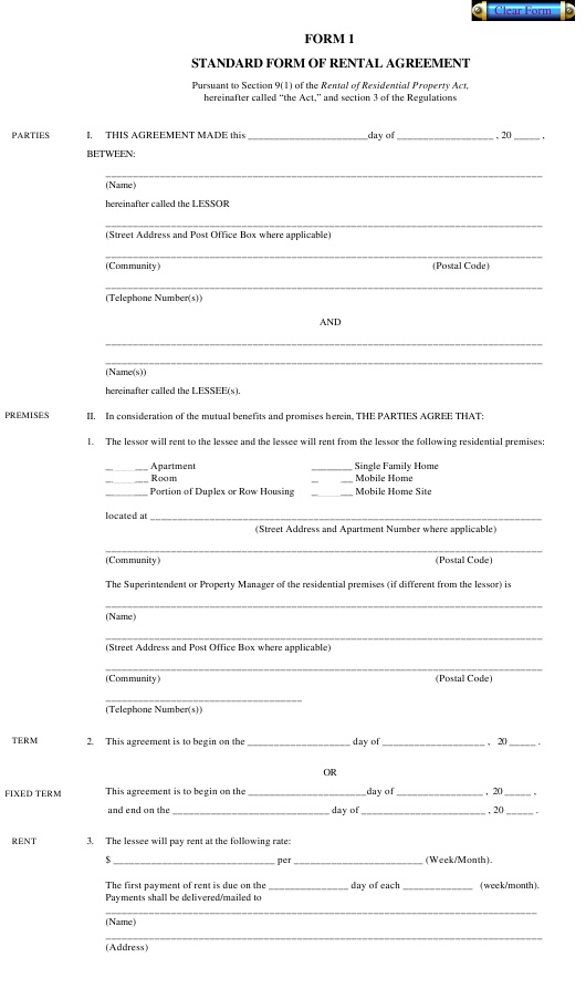 """Standard Form of Rental Agreement"" Download Pdf"