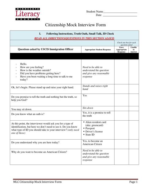 """Citizenship Mock Interview Form - Minnesota Literacy Council"" Download Pdf"