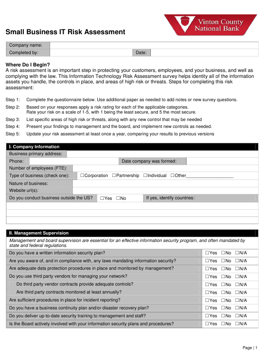 """""""Small Business It Risk Assessment Form - Vinton County National Bank"""" Download Pdf"""