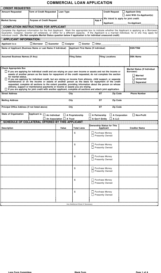 """""""Commercial Loan Application Form"""" Download Pdf"""