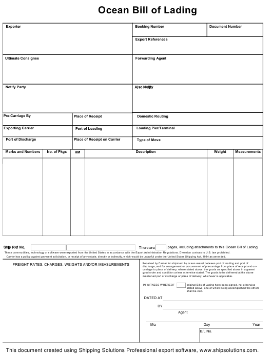 Ocean Bill Of Lading Template Download Printable Pdf Templateroller