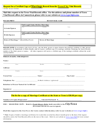 """Form VS-39M """"Request for a Certified Copy of Marriage Record From the Town/City Vital Records"""" - Connecticut"""