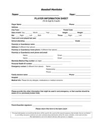 Player Information Sheet - Baseball Manitoba - Manitoba Canada