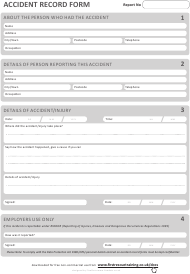Accident Record Form - United Kingdom