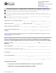 "Form DOH-422-102 ""Adoptee Request for Original Birth Certificate From Adoption Sealed File"" - Washington"