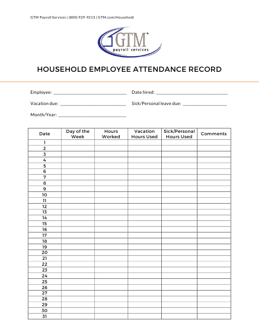 """Household Employee Attendance Record Sheet - Gtm Payroll Services"" Download Pdf"