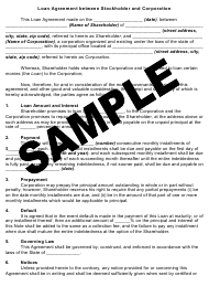 """Sample """"Loan Agreement From Stockholder and Corporation"""""""