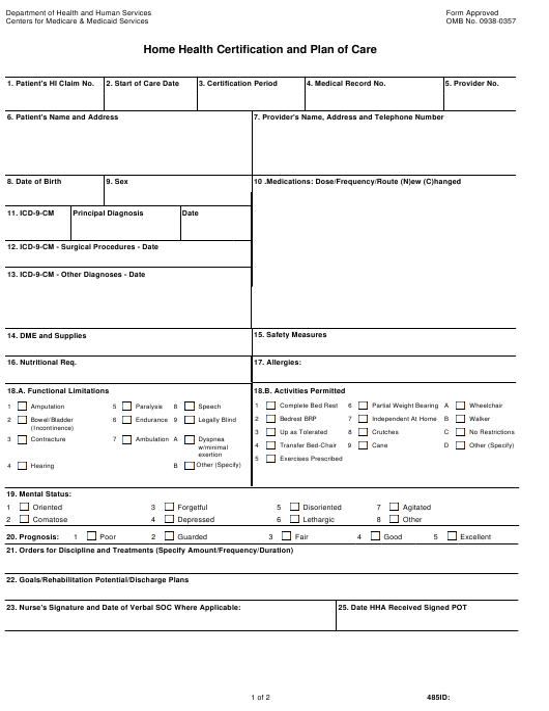 Form CMS-485 Printable Pdf