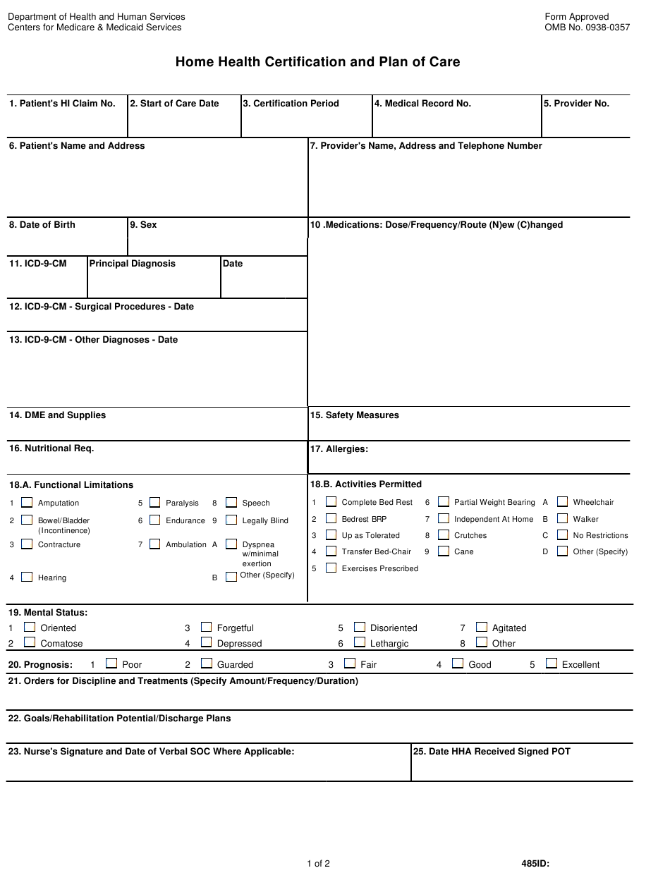 form cms care certification plan health pdf printable template templateroller