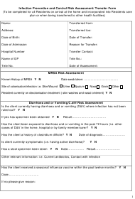 """Infection Prevention and Control Risk Assessment/ Transfer Form"""