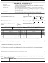 DA Form 2125 Report to Training Agency
