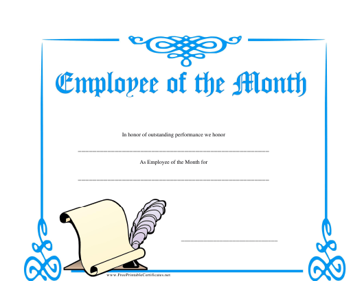 """""""Employee of the Month Certificate Template"""" Download Pdf"""