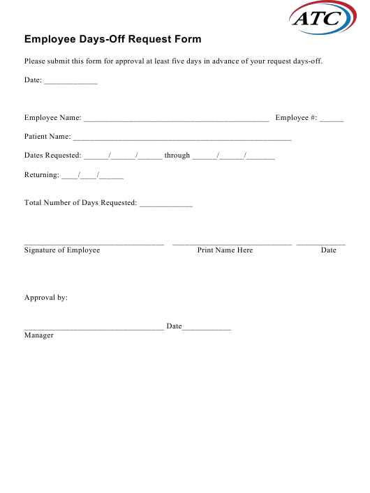 Employee Days-Off Request Form - Atc Download Pdf