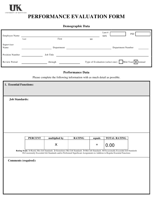 """Performance Evaluation Form - University of Kentucky"" Download Pdf"