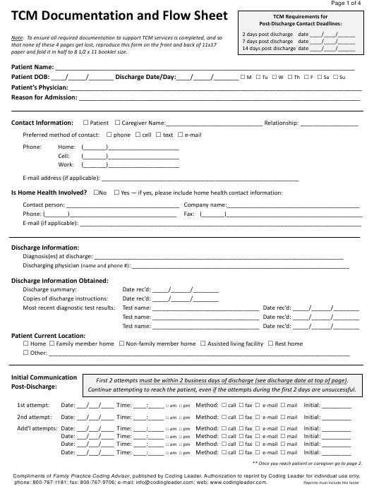 """""""Tcm Documentation and Flow Sheet Template"""" Download Pdf"""